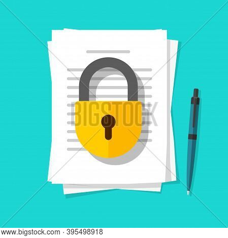 Secure Confidential Documents Pile With Locked Access Vector Flat Cartoon Illustration, Permission C