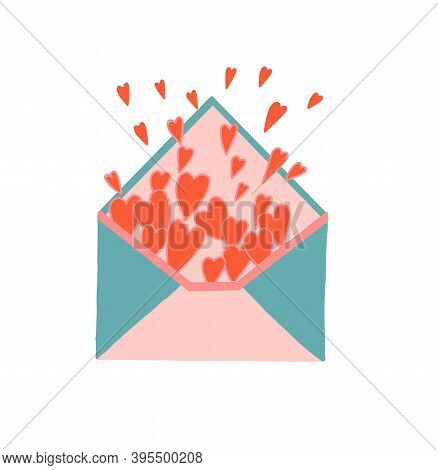 Hearts Fly Out Of The Envelope. Envelope Filled With Hearts. Love Letter. Love Message. Friendship A
