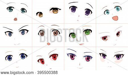 Cartoon Anime Style Expressions. Kawaii Cute Faces. Anime Girl In Japanese. Anime Style, Drawn Vecto