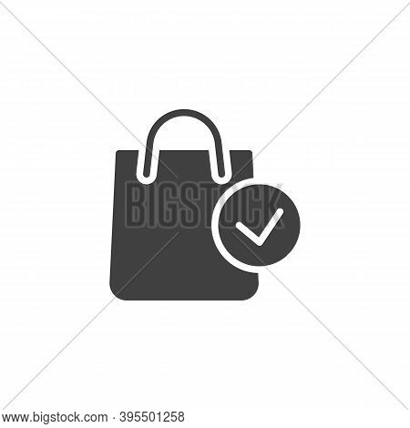 Shopping Bag And Check Mark Vector Icon. Filled Flat Sign For Mobile Concept And Web Design. Complet