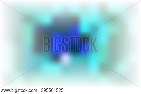 Color Abstract Blurred Background. Heavenly Blue, Tidewater Green Random Stains, Spots On White Base