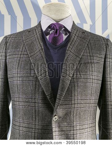 Grey Checkered Jacket With Blue Weater And Purple Tie (vertical)