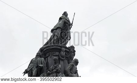 Monument To Catherine Ii On Cloudy Sky Background, Saint Petersburg, Russia. Action. Bottom View Of