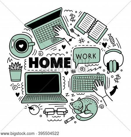 Set Of Cute Vector Hand Drawn Doodle Elements. Work From Home Concept, Distance Learning, Coronaviru