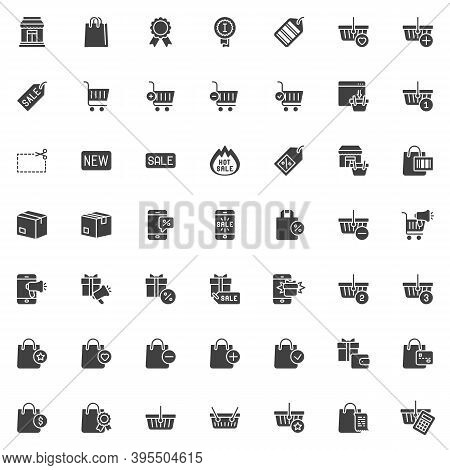 Shopping And Ecommerce Vector Icons Set, Modern Solid Symbol Collection, Filled Style Pictogram Pack