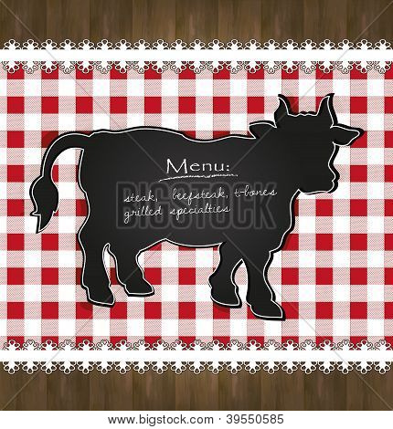 vector blackboard menu tablecloth lace cow bull
