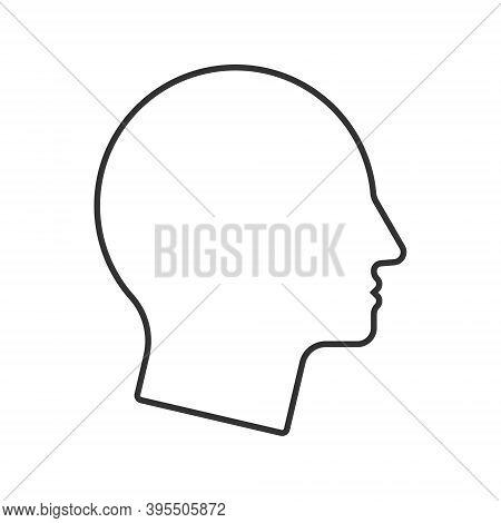 Human Head Shape Icon. Person Side Profile Silhouette Sign. Man Face Symbol. Avatar Portrait Logo. C