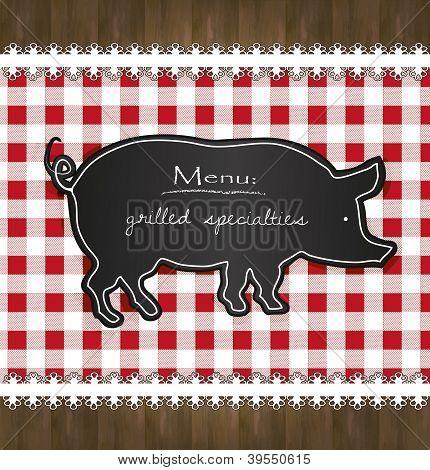 vector blackboard menu tablecloth lace pig