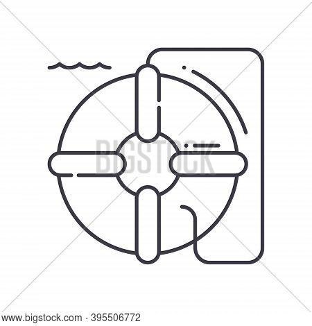 Lifesaver Icon, Linear Isolated Illustration, Thin Line Vector, Web Design Sign, Outline Concept Sym