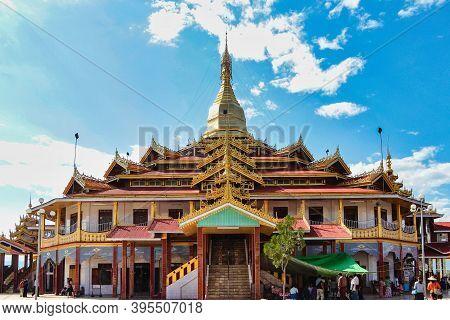 Inle Lake, Myanmar - Nov 09, 2019: Padogas Of Buddhist Monastery, Inle Lake, Shan State Of Myanmar F