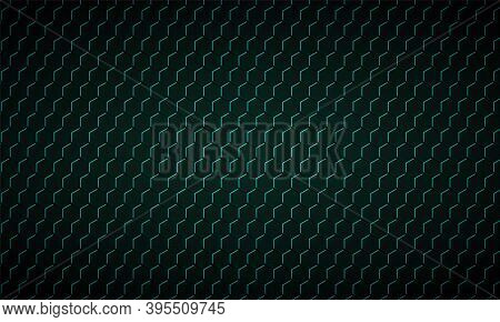Dark Green Hexagon Carbon Fiber Texture. Green Honeycomb Metal Texture Steel Background. Dark And Tu
