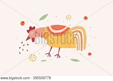 Funny Cartoon Chicken Pecks Grains. Cute Poultry Or Poultry. Picture For The Design Of A Children's