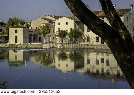 Typical Houses On The Medieval Village On The Mincio River In Borghetto, Verona (italy). One Of The