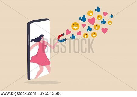 Influencer Marketing, Digital Social Media For Marketing Campaign Or Advertising Concept, Beautiful