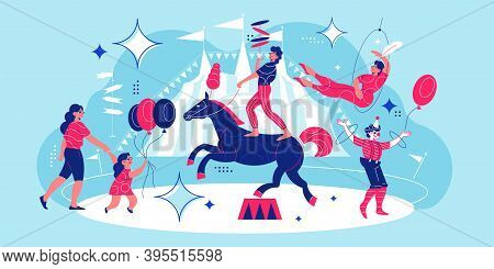 Circus Funfair Composition With Dancing Clowns Equilibrist On Prancing Horse And Mother With Girl Ho