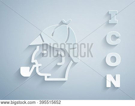Paper Cut Sherlock Holmes With Smoking Pipe Icon Isolated On Grey Background. Detective. Paper Art S