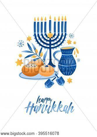 Hanukkah Symbols Flat Vector Illustration. Traditional Jewish Holiday Greeting Card Design With Happ