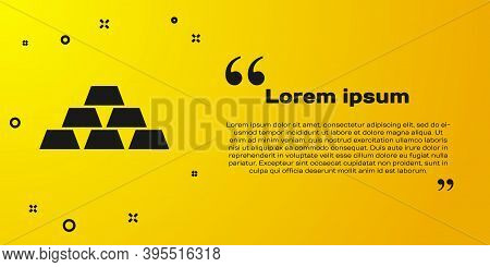 Black Gold Bars Icon Isolated On Yellow Background. Banking Business Concept. Vector