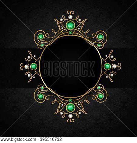 Jewellery Black Classic Vintage Golden Tiara With Diamonds And Green Emeralds Frame Vector Illustrat
