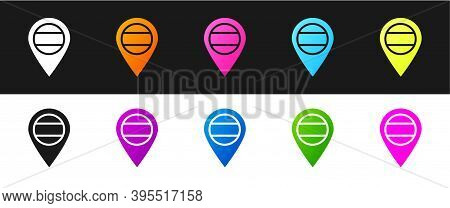 Set Location Russia Icon Isolated On Black And White Background. Navigation, Pointer, Location, Map,