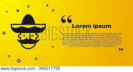 Black Mexican Man Wearing Sombrero Icon Isolated On Yellow Background. Hispanic Man With A Mustache.