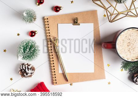 Desktop Blank Planner. Flat Lay Of White Working Table Background With Cup Of Coffee And Christmas D