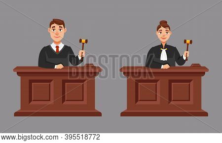 Male And Female Judges In Cartoon Style. Illustration Of Judicial Process.