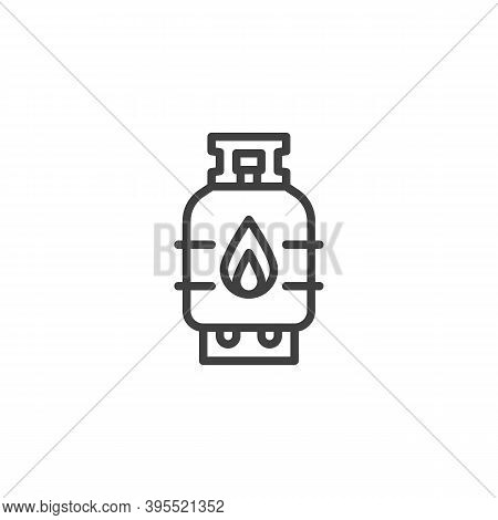 Propane Gas Cylinder Line Icon. Linear Style Sign For Mobile Concept And Web Design. Flammable Gas T