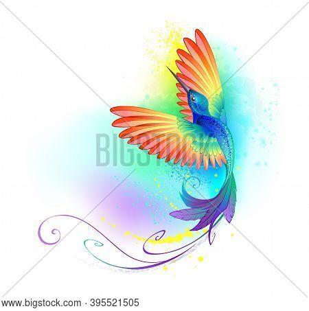 Bright, Iridescent, Splendid, Rainbow, Flying Hummingbird On White Background Painted Over With Mult