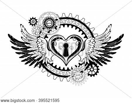 Contour, Mechanical Heart Shaped Lock With Gears, Decorated With Wings On White Background. Steampun