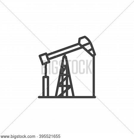 Oil Pump Line Icon. Linear Style Sign For Mobile Concept And Web Design. Pumpjack, Oil Derrick Outli