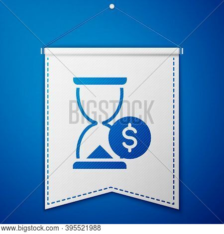 Blue Hourglass With Dollar Icon Isolated On Blue Background. Money Time. Sandglass And Money. Growth