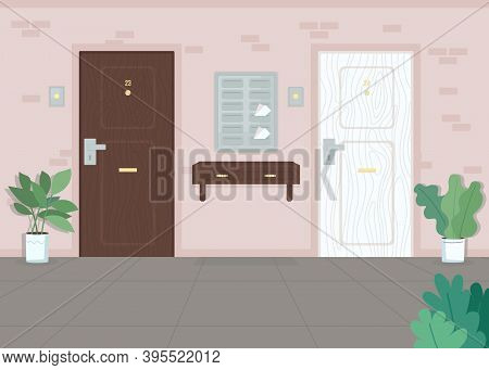 Neighbor Apartment Doors Flat Color Vector Illustration. City Home. Postal Boxes. Mail In Postbox. L