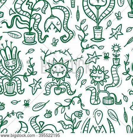 Seamless Pattern  With Venus Flytraps On White Background. Monsters Plants Print. Comic Drawing Of
