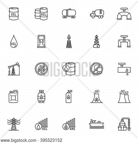 Gas And Oil Industry Line Icons Set. Linear Style Symbols Collection, Outline Signs Pack. Vector Gra