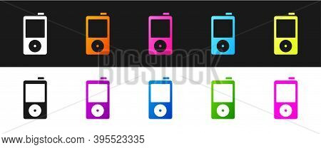 Set Music Player Icon Isolated On Black And White Background. Portable Music Device. Vector