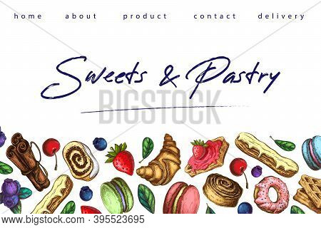 Bakery Illustration. Pastry Banner, Background Or Sweets Shop Landing Page Template. Horizontal Bord