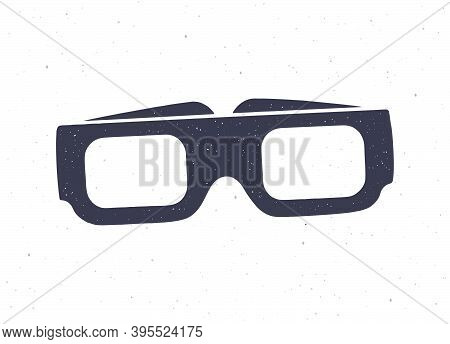 Silhouette Of Paper 3d Glasses Front View. Vector Illustration. Stereo Retro Glasses For Three-dimen