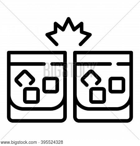 Cheers Cognac Ice Cube Glasses Icon. Outline Cheers Cognac Ice Cube Glasses Vector Icon For Web Desi