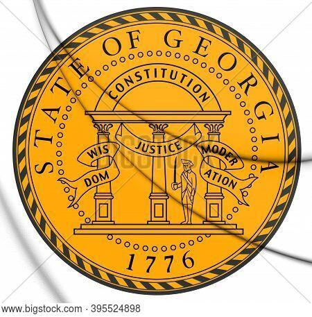 3d Seal Of Georgia, Usa. 3d Illustration.