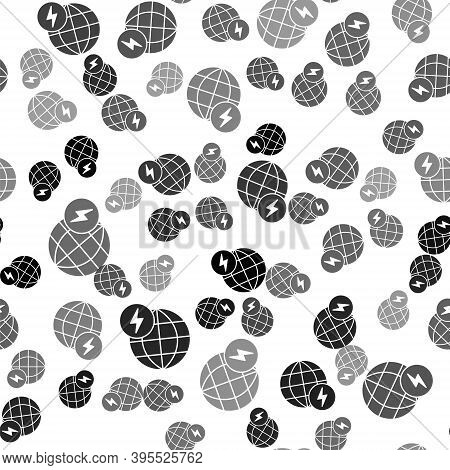Black Global Energy Power Planet With Flash Thunderbolt Icon Isolated Seamless Pattern On White Back