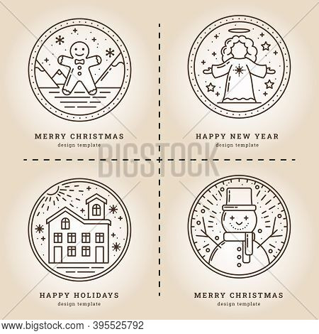 Christmas Set Of Illustrations In Retro Style. Gingerbread, Angel, House In The Snow And Snowman. Ic