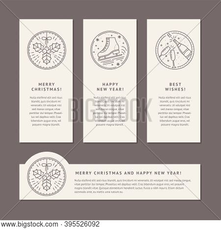 Christmas Set Of Banner Templates With Line Art. Empty Space For Text And Icons For Mistletoe, Champ