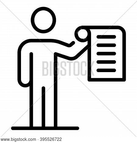 Mentor Skill Paper Icon. Outline Mentor Skill Paper Vector Icon For Web Design Isolated On White Bac