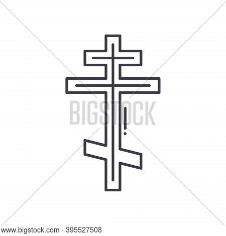 Crucifix Icon, Linear Isolated Illustration, Thin Line Vector, Web Design Sign, Outline Concept Symb