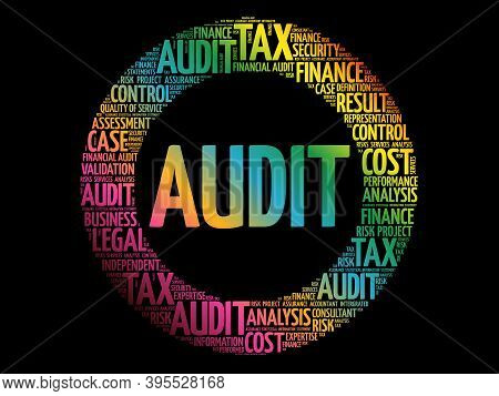 Audit Circle Word Cloud Collage, Business Concept Background