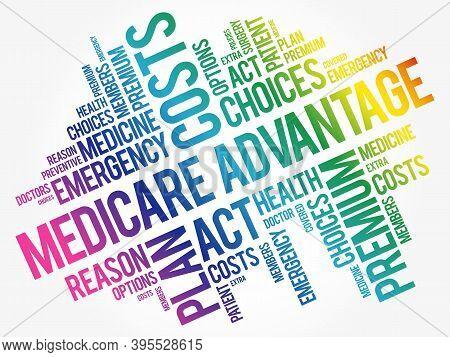 Medicare Advantage Word Cloud Collage, Health Concept Background