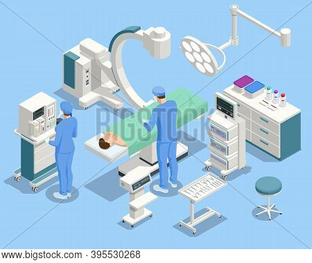 Isometric Equipment And Medical Devices In Modern Operating Room. Medical Team Performing Surgical O