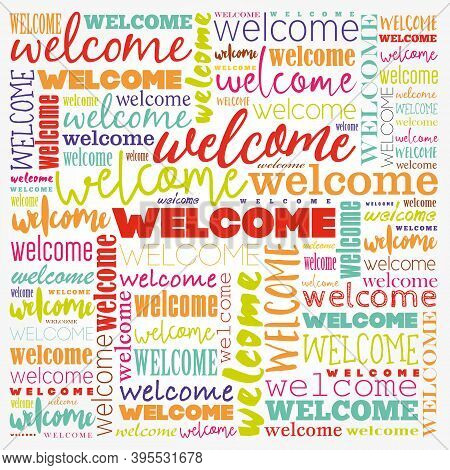 Welcome Word Cloud Collage, Business Concept Background