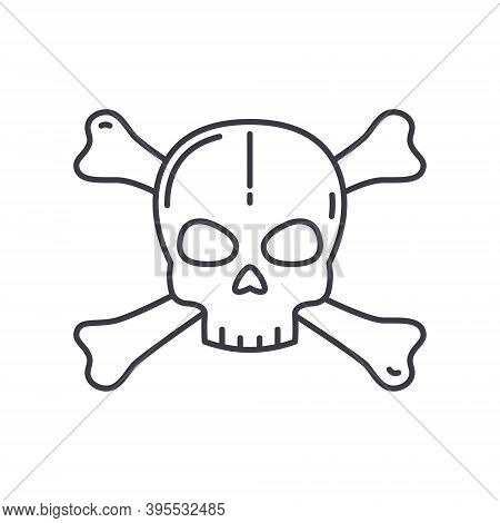 Crossbones Icon, Linear Isolated Illustration, Thin Line Vector, Web Design Sign, Outline Concept Sy